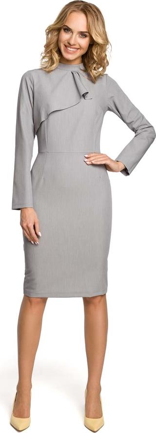 Sukienka MOE ze stójką midi dopasowana