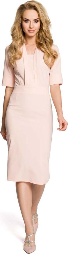 Sukienka MOE ze sznurowanym dekoltem z krótkim rękawem dopasowana
