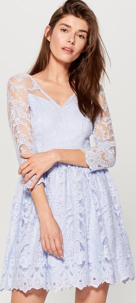 9499c6d26c Błękitna sukienka Mohito z długim rękawem