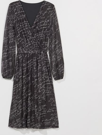 Sukienka Mohito z długim rękawem mini z dekoltem w kształcie litery v
