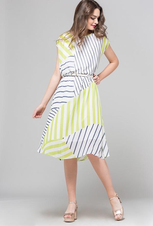 dobra jakość Sukienka Monnari midi z okrągłym dekoltem w