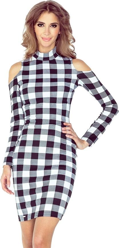 Sukienka MORIMIA z odkrytymi ramionami z długim rękawem z golfem