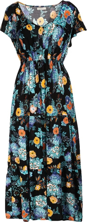 Sukienka Multu z dekoltem w kształcie litery v maxi z krótkim rękawem