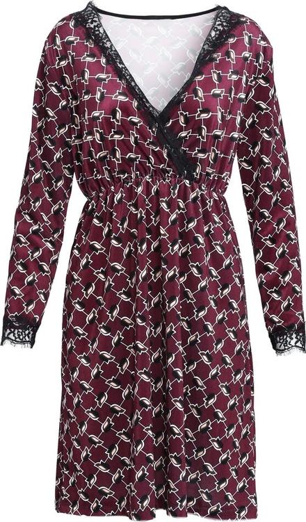 Sukienka Multu z długim rękawem mini z dekoltem w kształcie litery v