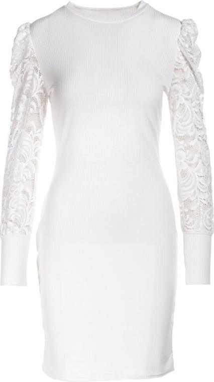 Sukienka Multu z długim rękawem mini z okrągłym dekoltem