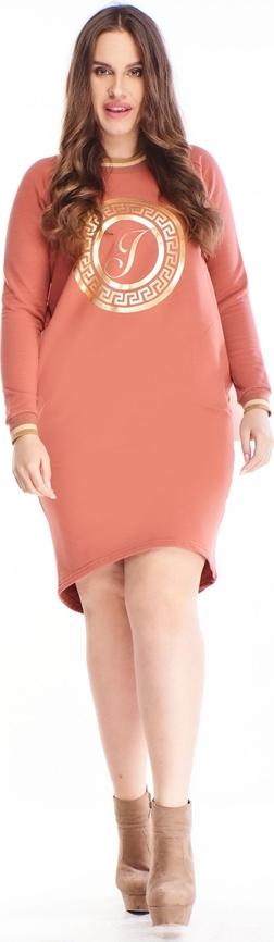 Sukienka N/A z bawełny z okrągłym dekoltem z długim rękawem