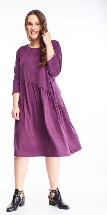 Sukienka N/A z długim rękawem midi z okrągłym dekoltem