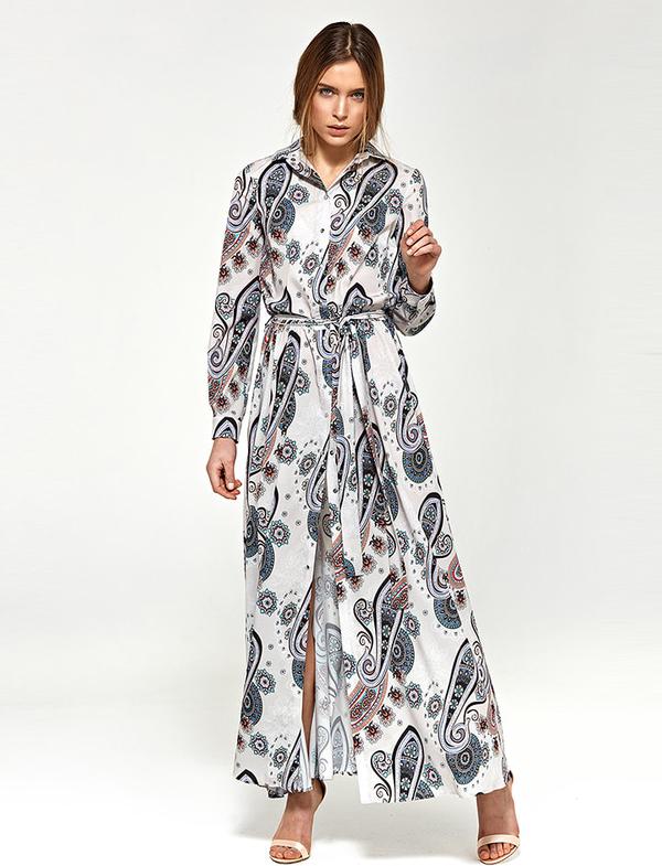 Sukienka Nife z kołnierzykiem maxi z długim rękawem