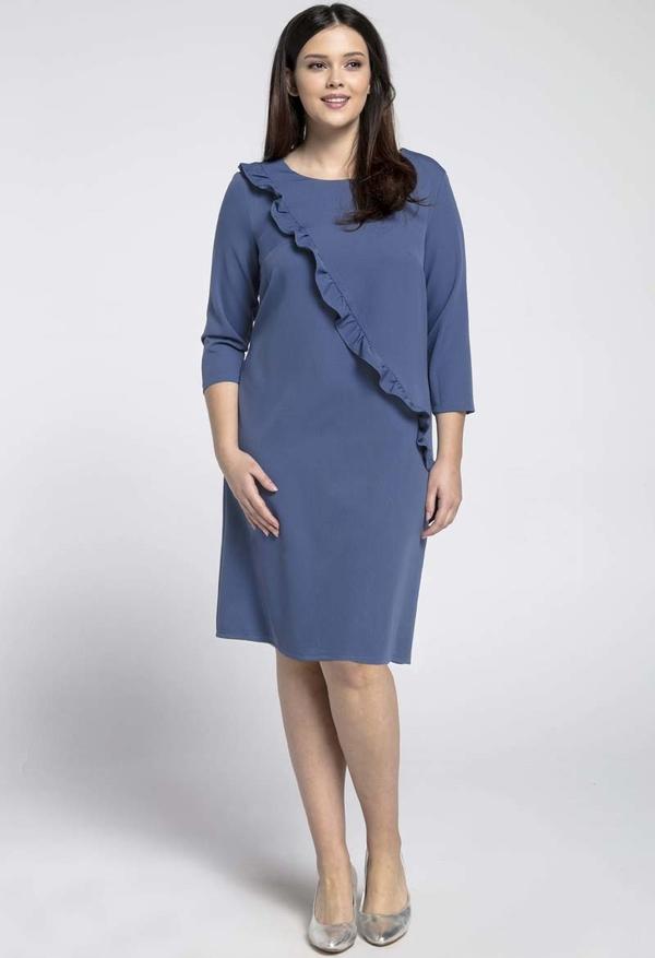 Sukienka Nommo dla puszystych z okrągłym dekoltem