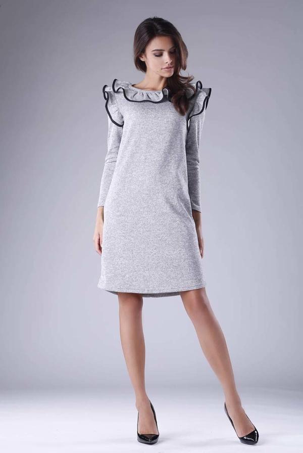 Sukienka Nommo midi z długim rękawem z okrągłym dekoltem