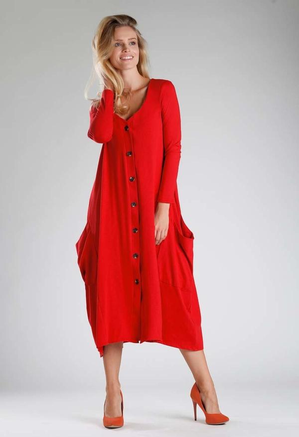Sukienka Nommo z długim rękawem z dekoltem w kształcie litery v midi