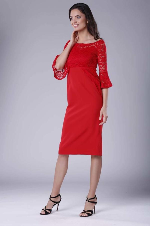 Sukienka Nommo z okrągłym dekoltem midi dopasowana
