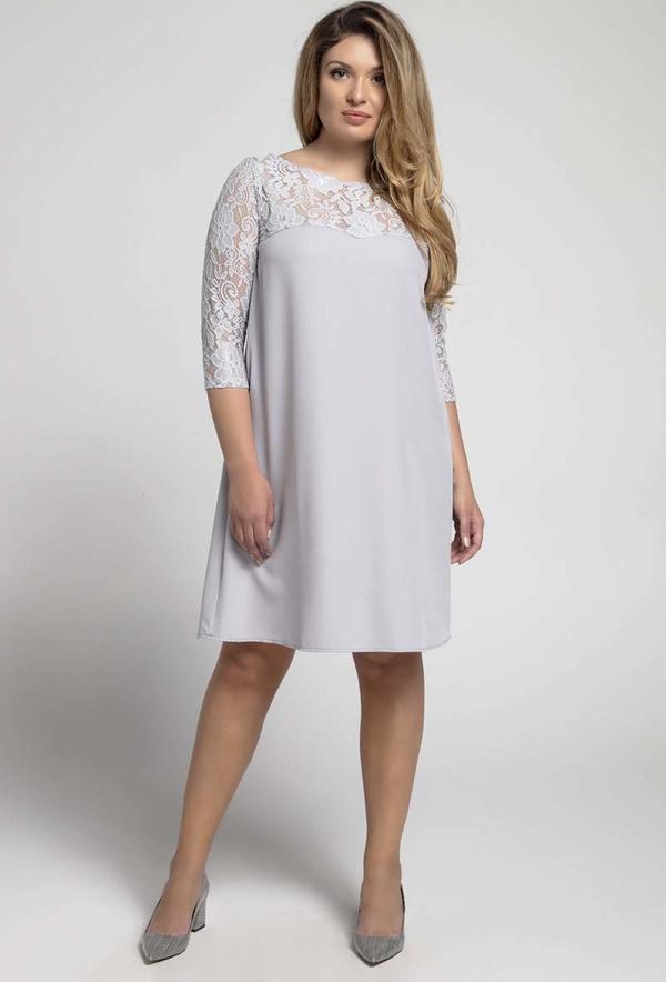 Sukienka Nommo z okrągłym dekoltem z długim rękawem