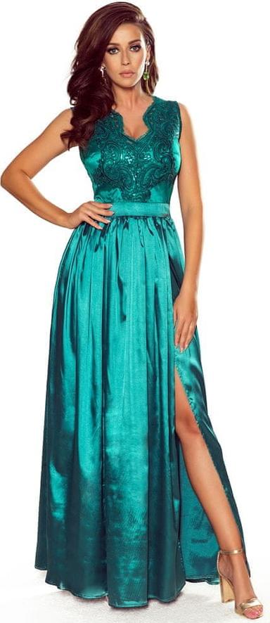 Sukienka NUMOCO maxi rozkloszowana z dekoltem w kształcie litery v