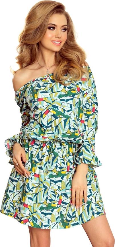 Sukienka NUMOCO rozkloszowana z długim rękawem mini