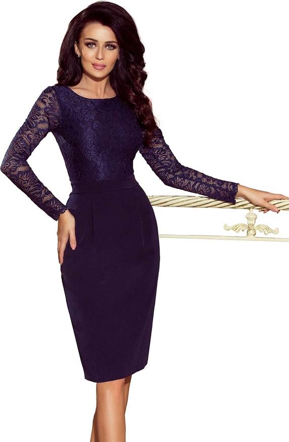 Sukienka NUMOCO z długim rękawem dopasowana z okrągłym dekoltem
