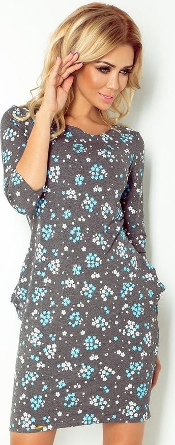 Sukienka NUMOCO z długim rękawem z okrągłym dekoltem w stylu casual