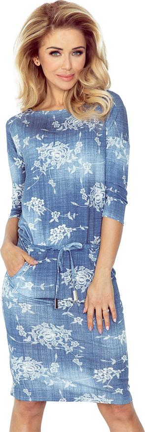 Sukienka NUMOCO z jeansu z okrągłym dekoltem z długim rękawem