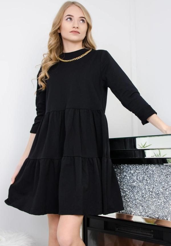 Sukienka Olika z długim rękawem w stylu casual z okrągłym dekoltem