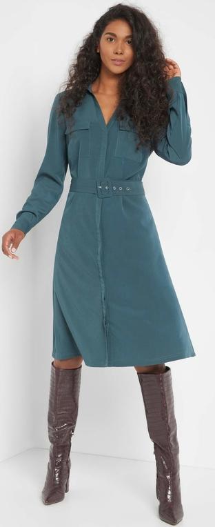 Sukienka ORSAY midi z długim rękawem koszulowa