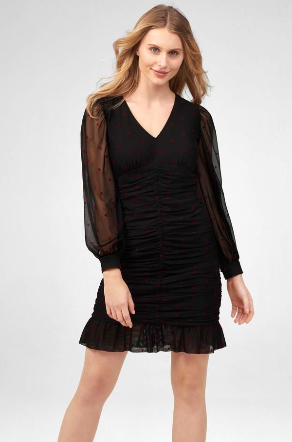 Sukienka ORSAY mini z długim rękawem z dekoltem w kształcie litery v