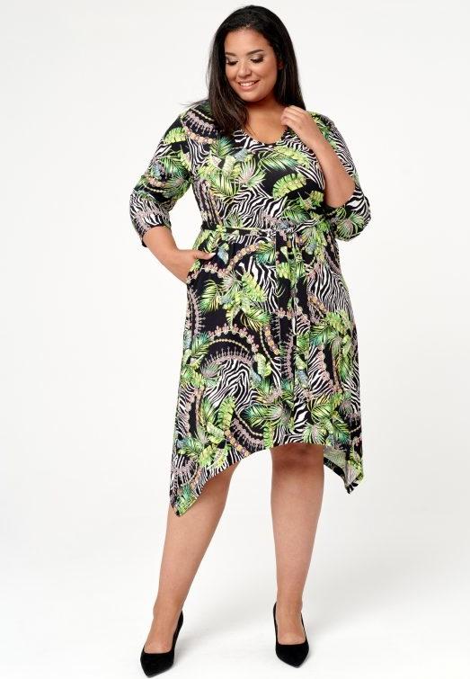 Sukienka Oscar Fashion dla puszystych midi