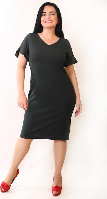 Sukienka Oscar Fashion dopasowana z krótkim rękawem w stylu klasycznym