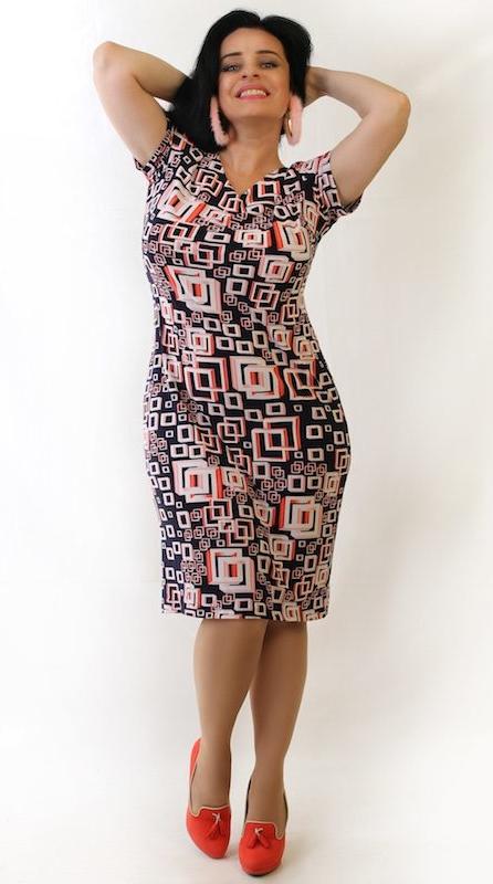 Sukienka Oscar Fashion midi z krótkim rękawem z dekoltem w kształcie litery v