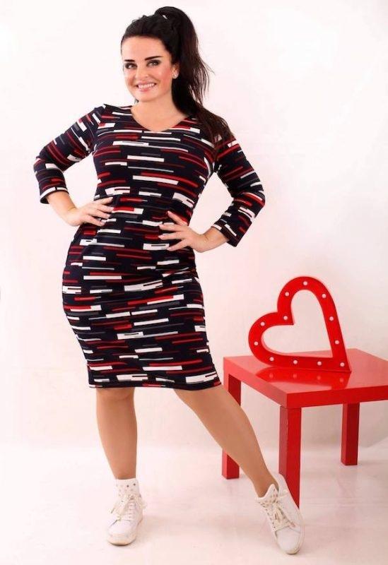 Sukienka Oscar Fashion mini z długim rękawem