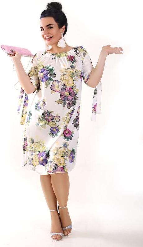 Sukienka Oscar Fashion w stylu casual hiszpanka z długim rękawem