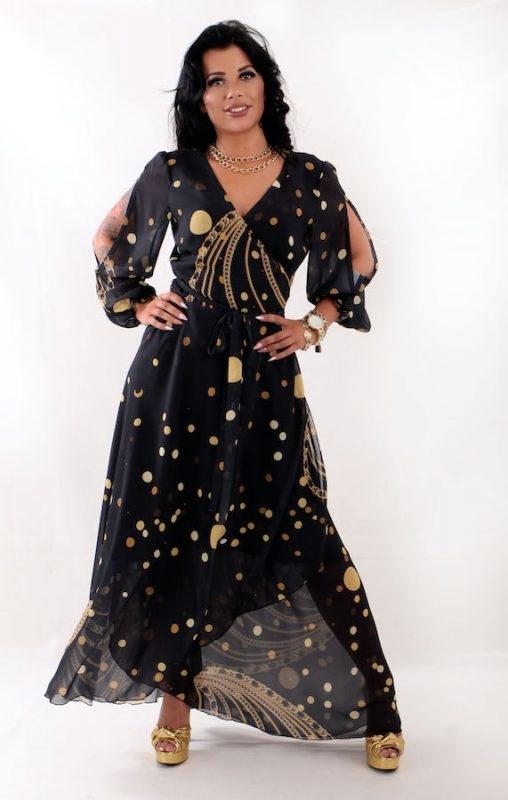 Sukienka Oscar Fashion z dekoltem w kształcie litery v z szyfonu