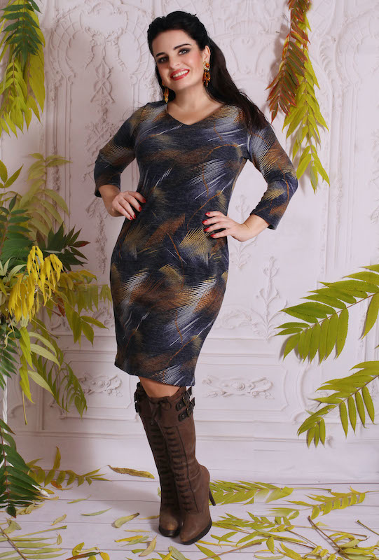 Sukienka Oscar Fashion z długim rękawem
