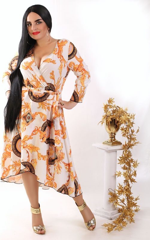 Sukienka Oscar Fashion z długim rękawem maxi