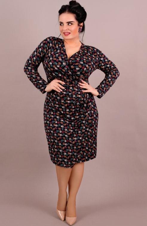 Sukienka Oscar Fashion z długim rękawem midi