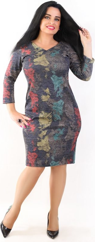 Sukienka Oscar Fashion z długim rękawem w stylu casual z okrągłym dekoltem