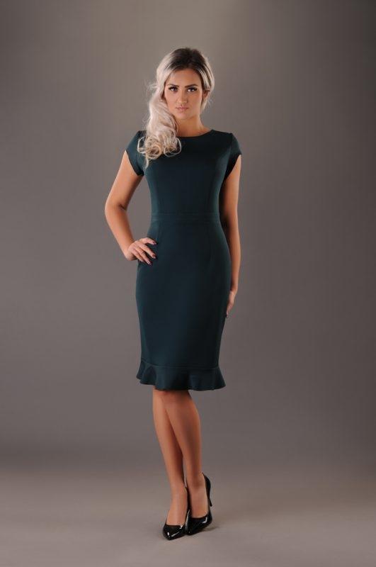 Sukienka Oscar Fashion z krótkim rękawem dopasowana midi