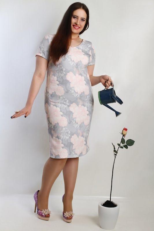 Sukienka Oscar Fashion z krótkim rękawem z okrągłym dekoltem midi