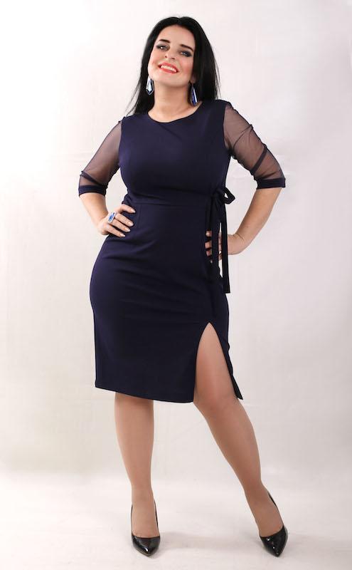 Sukienka Oscar Fashion z okrągłym dekoltem dopasowana z długim rękawem