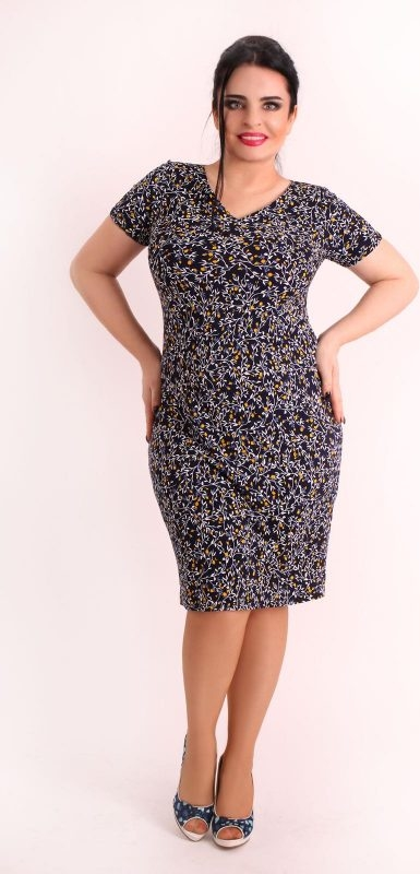 Sukienka Oscar Fashion z okrągłym dekoltem midi