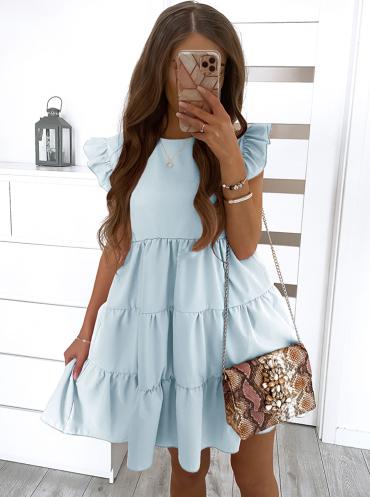 Sukienka Pakuten mini rozkloszowana z okrągłym dekoltem