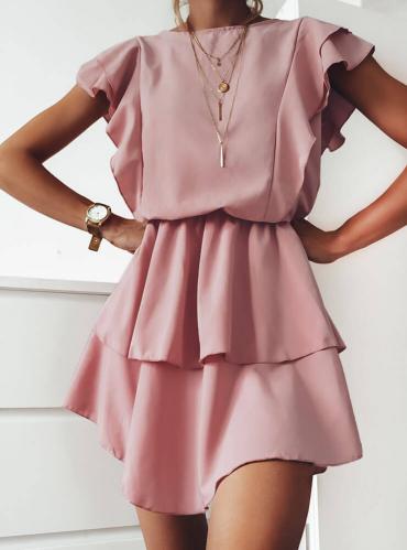 Sukienka Pakuten z bawełny z krótkim rękawem mini