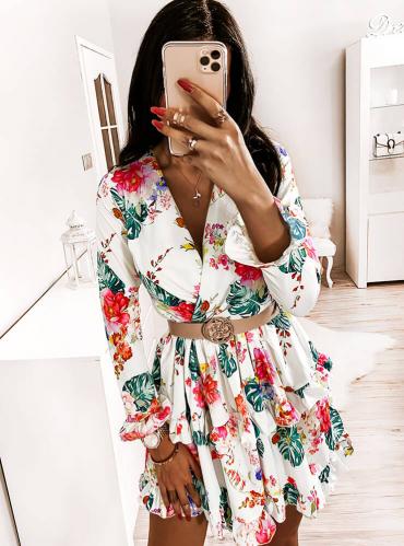 Sukienka Pakuten z dekoltem w kształcie litery v mini z długim rękawem