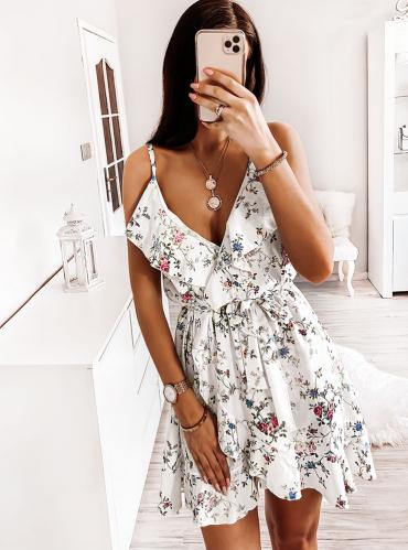 Sukienka Pakuten z dekoltem w kształcie litery v na ramiączkach mini