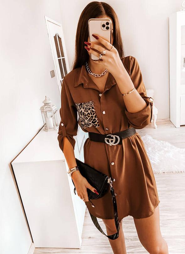 Sukienka Pakuten z długim rękawem koszulowa mini
