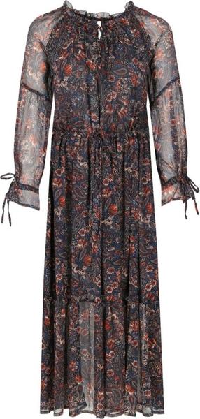 Sukienka Pepe Jeans maxi z okrągłym dekoltem z długim rękawem