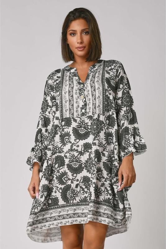 Sukienka Plus Size Fashion z długim rękawem z dekoltem w kształcie litery v w stylu casual