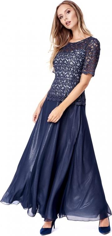 Sukienka POTIS & VERSO z szyfonu rozkloszowana z okrągłym dekoltem