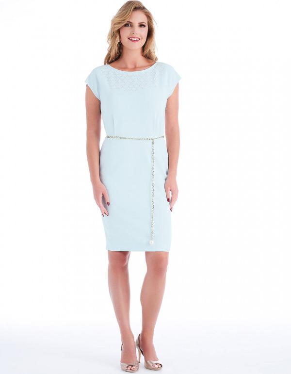 Sukienka POTIS & VERSO z tkaniny z krótkim rękawem prosta