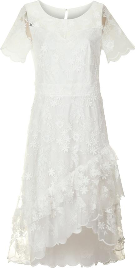 Sukienka Poza midi z krótkim rękawem asymetryczna