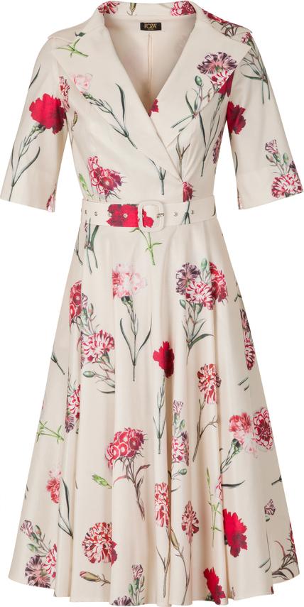 Sukienka Poza z krótkim rękawem z bawełny z kołnierzykiem